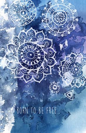 Bohemian stijl abstracte achtergrond met de hand getekende mandalapatroon