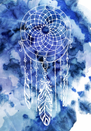 Bohemian style abstract background with hand drawn dream catcher illustration