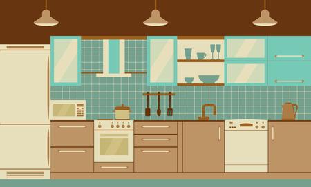 Keuken interieur met huismeubelen en kithenware. Vector platte illustratie. Retro palet