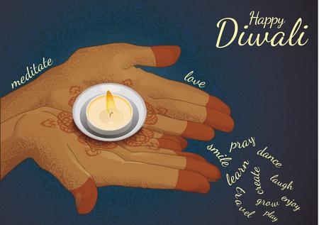 Diwali greeting card with wishes of love, meditate, pray, joy etc Çizim
