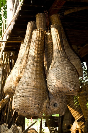 Bamboo traps the animals intended to trap fish by rural villagers in Thailand.
