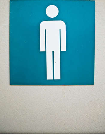 Toilet sign male The bathrooms have a large garden.