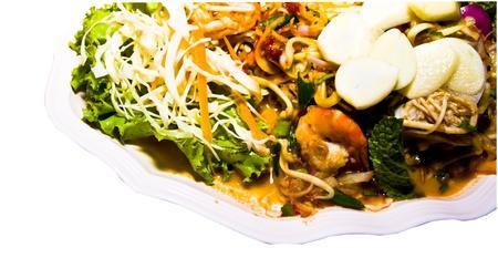 Herb salad with shrimp. Thai food Standard-Bild
