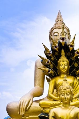 Buddha on the sky. The Buddhist respect.