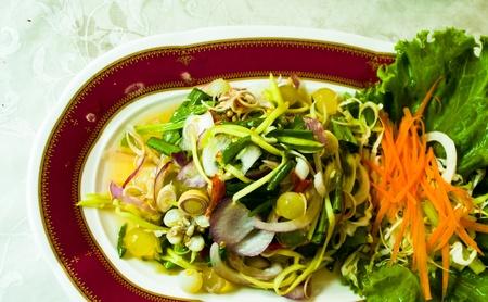 Salad, vegetables, eggs, vegetables, green food and love. Standard-Bild