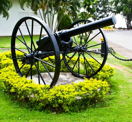 Ancient cannon on wheels Thai Navy.