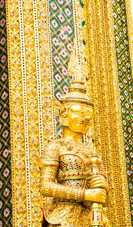 Wat phra kaeo in the Grand palace area, one of the major tourism attraction in Bangkok, Thailand Stock Photo