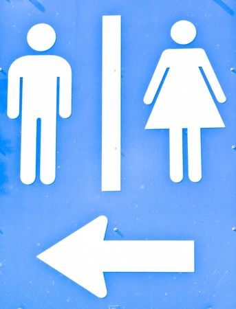 Bathrooms for men and women with a blue background.