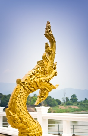 The Thai Buddhist statues Snake called Naga. Stock Photo