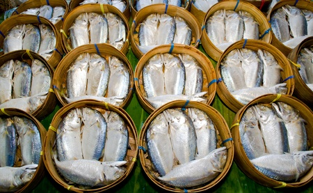 Mackerel fish in bamboo basket at market, Thailand Stock Photo - 11454149