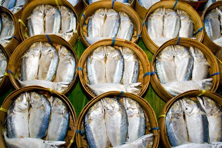 Mackerel fish in bamboo basket at market, Thailand Stock Photo - 12330505