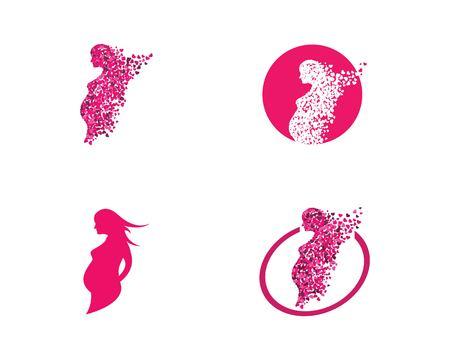 beauty pregnant women vector icon template Illustration