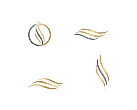 Hair wave logo vector icon template