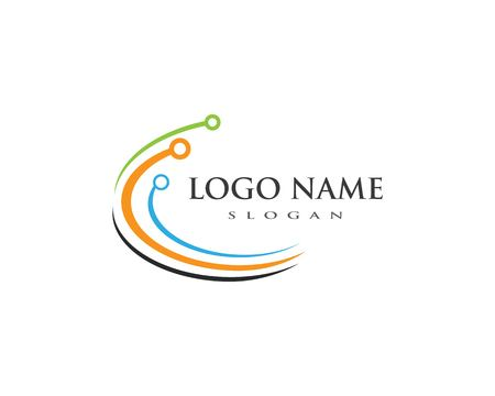 Global technology logo template vector