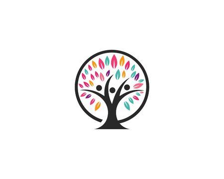 family tree logo template vector illustration Иллюстрация