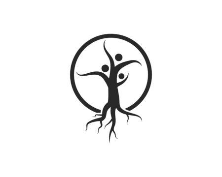 family tree ilustration logo template vector illustration