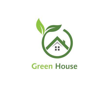 Green house logo vector template