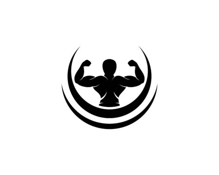 Bodybuilder,gym or fitness Logo Template Vettoriali