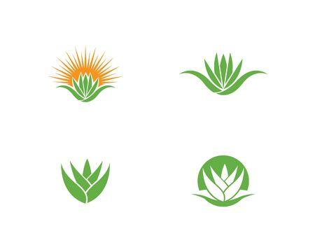 Aloe vera logo vector ilustration template  イラスト・ベクター素材
