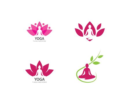 Meditation yoga logo template vector