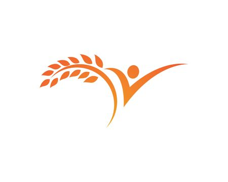 Agriculture wheat Logo Template,healthy life logo vector icon design  イラスト・ベクター素材
