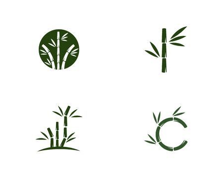 Bamboo with green leaf vector icon template
