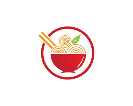 noodle logo  design vector ilustration template Stock Illustratie