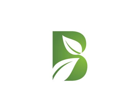 B letter logo with green leaf ecology nature element vector icon Vettoriali