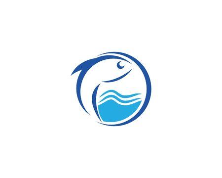 Fish logo template. Creative vector symbol of fishing club or online Illustration