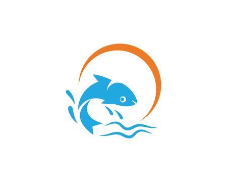 Fish logo template. Creative vector symbol of fishing club or online Ilustração