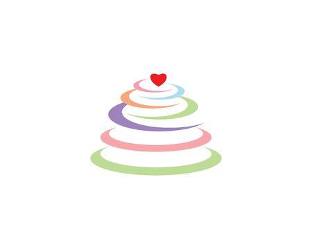 Cake logo vector ilustration template Stock Illustratie