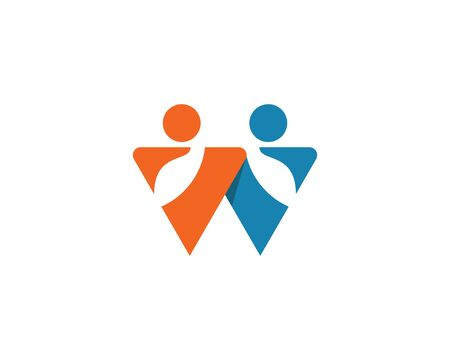 W letter community ilustration logo template