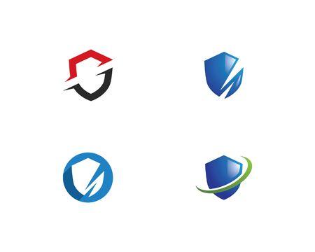 Shield symbol logo template vector illustration Ilustração
