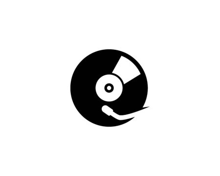 Vinyl music record icon vector template Illustration