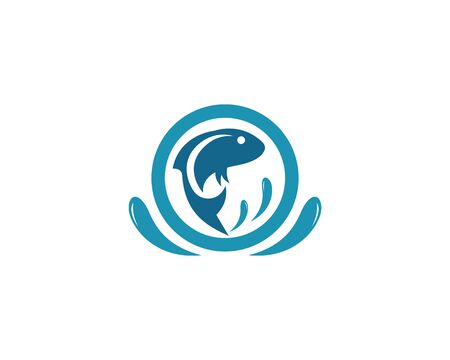Fish logo template. Creative vector symbol of fishing club or online  イラスト・ベクター素材