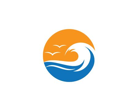 Water Wave symbol and icon Logo Template vector Standard-Bild - 128744847