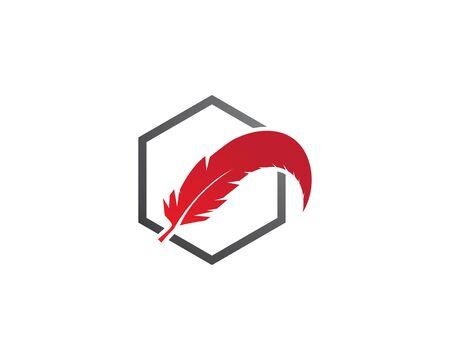 feather logo vector template Illusztráció