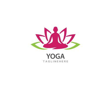 Meditation yoga logo template vector icon design Standard-Bild - 130022510