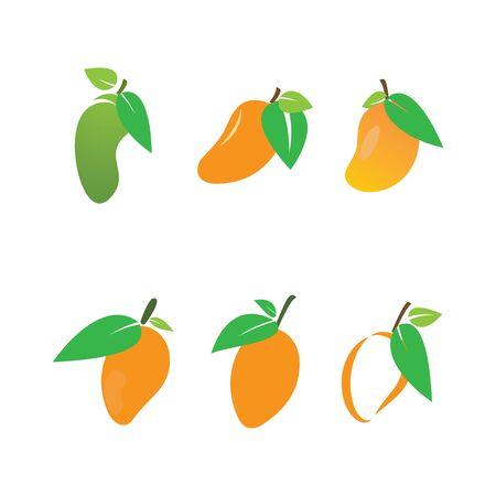 Mango in flat style. Mango vector logo 向量圖像