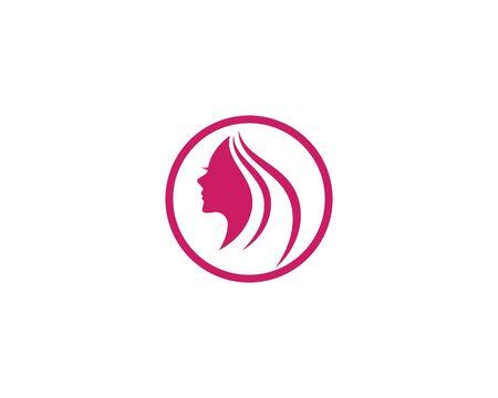 Beauty Women face silhouette character Logo Template Çizim