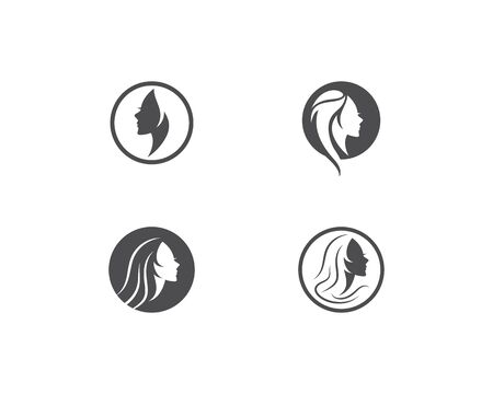women face silhouette character illustration logo icon vector