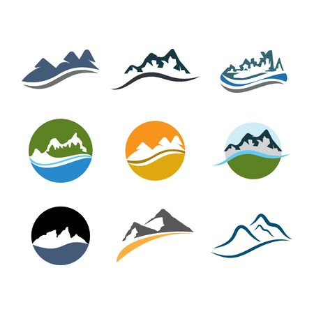 Mountains Logo vectorTemplate illustration Ilustracja