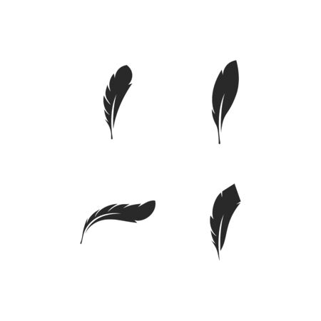 feather illustration logo vector template