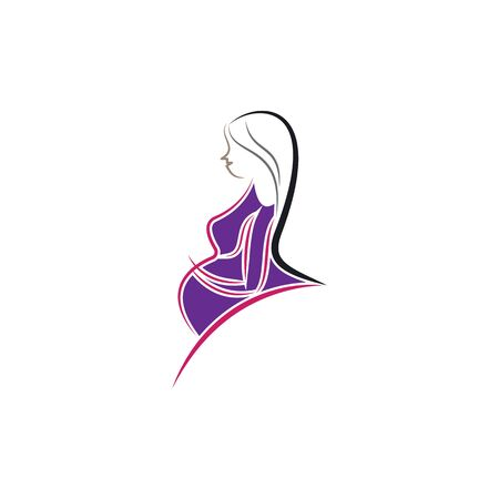 Beauty pregnant women vector icon template