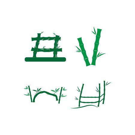 Bamboo with green leaf for your logo icon vector template Иллюстрация
