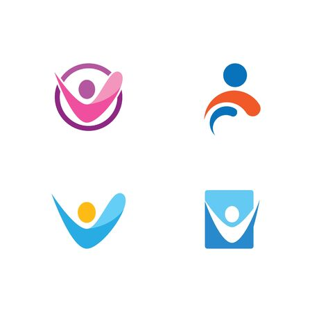 Healthy Life people Logo template vector  イラスト・ベクター素材