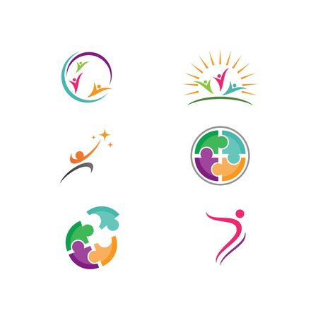Community, network and social logo design template vector  イラスト・ベクター素材