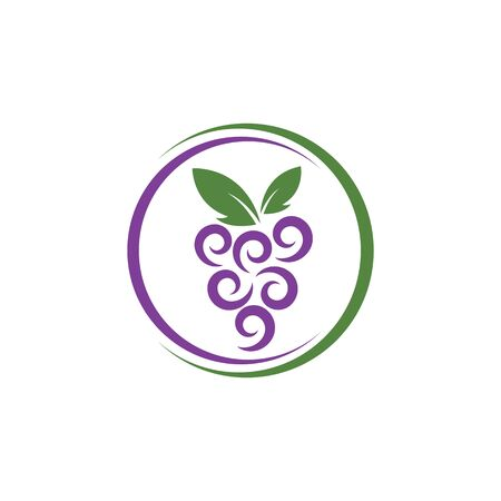 Grape with leaf logo vector template