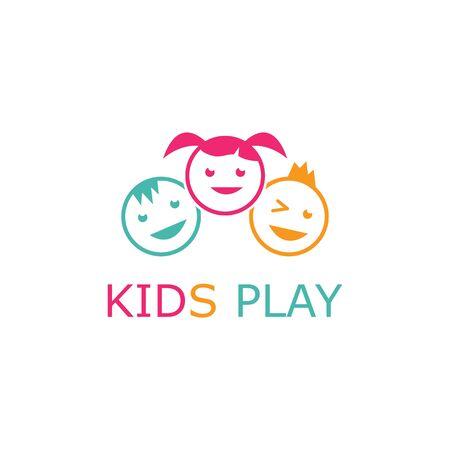 kids play logo vector template  イラスト・ベクター素材