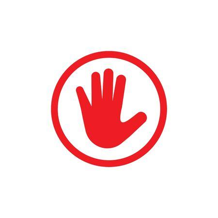 Hand blocking logo Stop Icon vector template